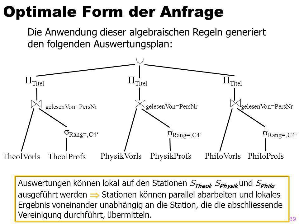 39 Optimale Form der Anfrage Die Anwendung dieser algebraischen Regeln generiert den folgenden Auswertungsplan: Π Titel gelesenVon=PersNr σ Rang=C4 TheolVorlsTheolProfs PhysikVorlsPhysikProfsPhiloVorlsPhiloProfs Auswertungen können lokal auf den Stationen S Theol, S Physik und S Philo ausgeführt werden Stationen können parallel abarbeiten und lokales Ergebnis voneinander unabhängig an die Station, die die abschliessende Vereinigung durchführt, übermitteln.