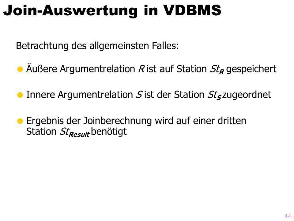 44 Betrachtung des allgemeinsten Falles: Join-Auswertung in VDBMS Äußere Argumentrelation R ist auf Station St R gespeichert Innere Argumentrelation S ist der Station St S zugeordnet Ergebnis der Joinberechnung wird auf einer dritten Station St Result benötigt