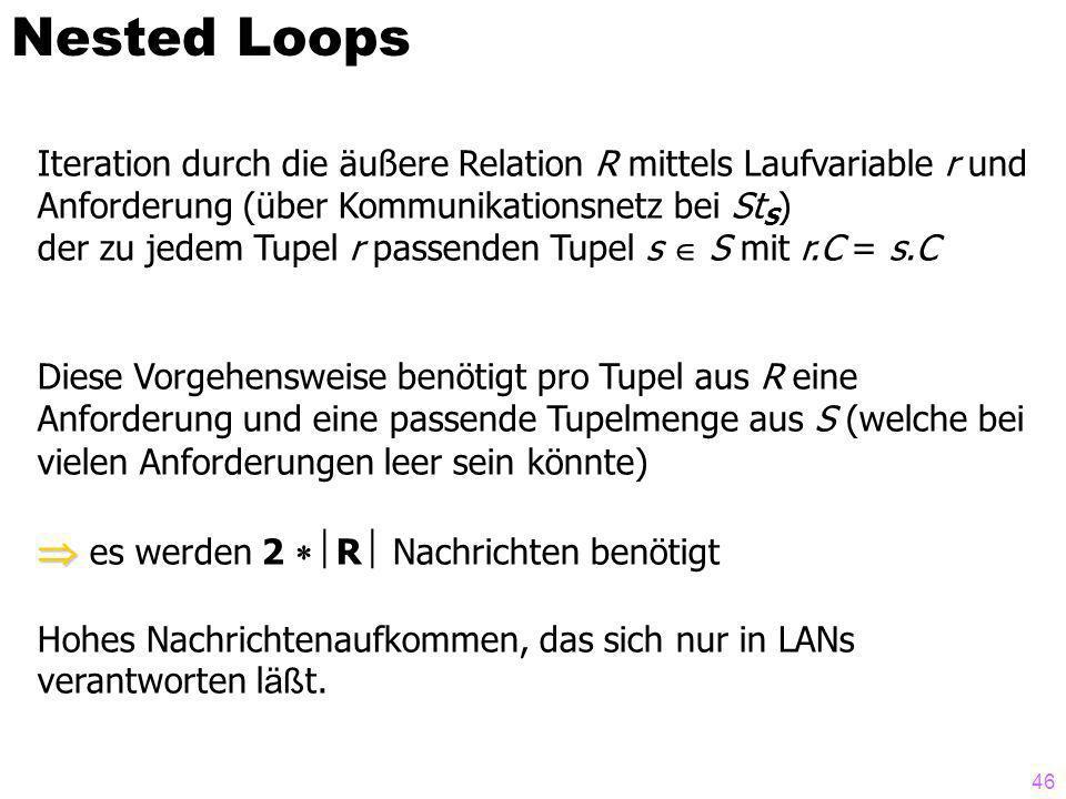 46 Nested Loops Iteration durch die äußere Relation R mittels Laufvariable r und Anforderung (über Kommunikationsnetz bei St S ) der zu jedem Tupel r passenden Tupel s S mit r.C = s.C Diese Vorgehensweise benötigt pro Tupel aus R eine Anforderung und eine passende Tupelmenge aus S (welche bei vielen Anforderungen leer sein könnte) es werden 2 R Nachrichten benötigt Hohes Nachrichtenaufkommen, das sich nur in LANs verantworten l äß t.