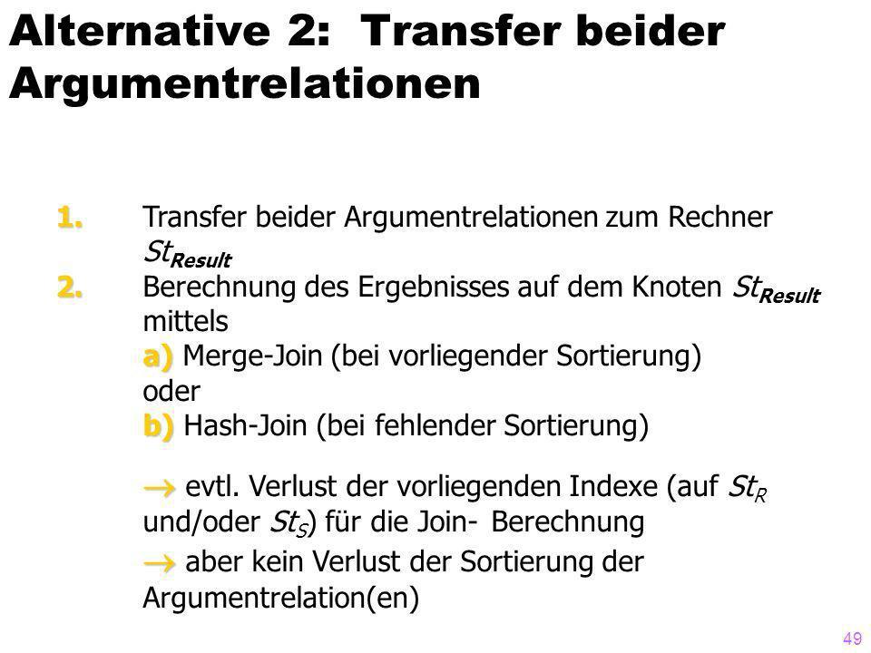 49 Alternative 2: Transfer beider Argumentrelationen 1. 1. Transfer beider Argumentrelationen zum Rechner St Result 2. 2. Berechnung des Ergebnisses a