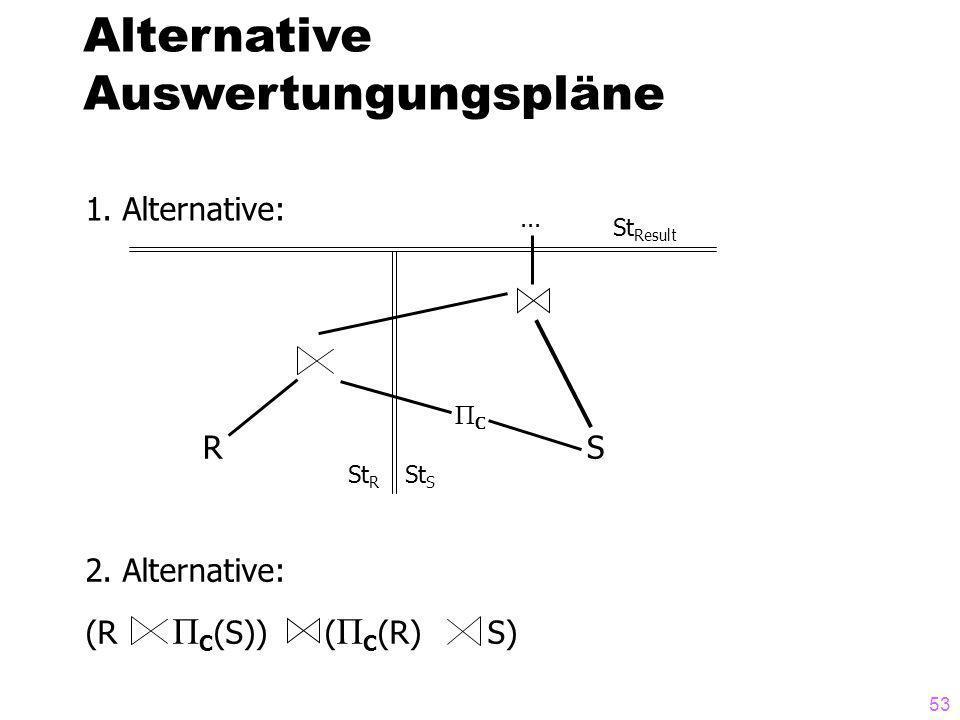 53 Alternative Auswertungungspläne 1. Alternative:... ΠCΠC St R St Result St S RS 2. Alternative: (R Π C (S)) ( Π C (R) S)