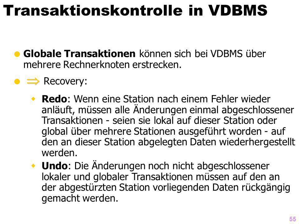 55 Transaktionskontrolle in VDBMS Globale Transaktionen können sich bei VDBMS über mehrere Rechnerknoten erstrecken. Recovery: Redo: Wenn eine Station