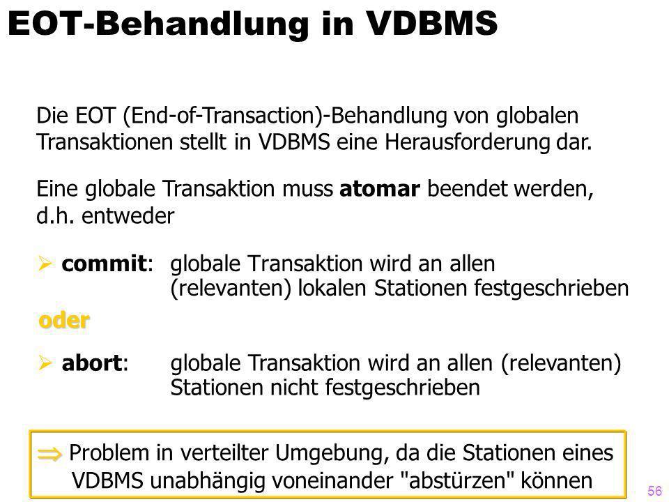 56 EOT-Behandlung in VDBMS commit: globale Transaktion wird an allen (relevanten) lokalen Stationen festgeschrieben Die EOT (End-of-Transaction)-Behandlung von globalen Transaktionen stellt in VDBMS eine Herausforderung dar.