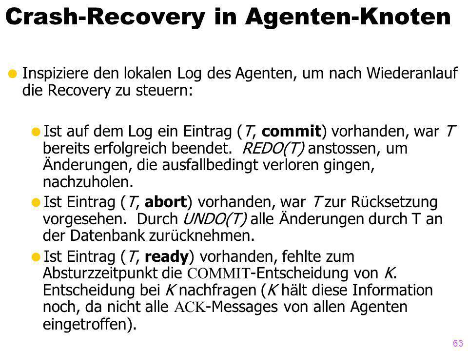 63 Crash-Recovery in Agenten-Knoten Inspiziere den lokalen Log des Agenten, um nach Wiederanlauf die Recovery zu steuern: Ist auf dem Log ein Eintrag (T, commit) vorhanden, war T bereits erfolgreich beendet.