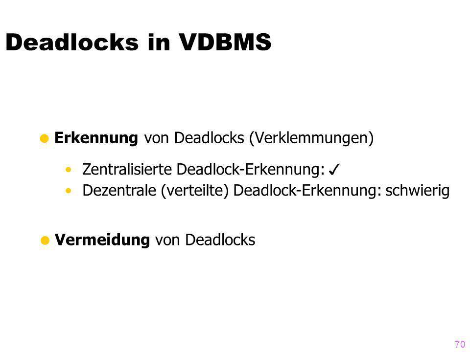 70 Deadlocks in VDBMS Erkennung von Deadlocks (Verklemmungen) Zentralisierte Deadlock-Erkennung: Dezentrale (verteilte) Deadlock-Erkennung: schwierig Vermeidung von Deadlocks