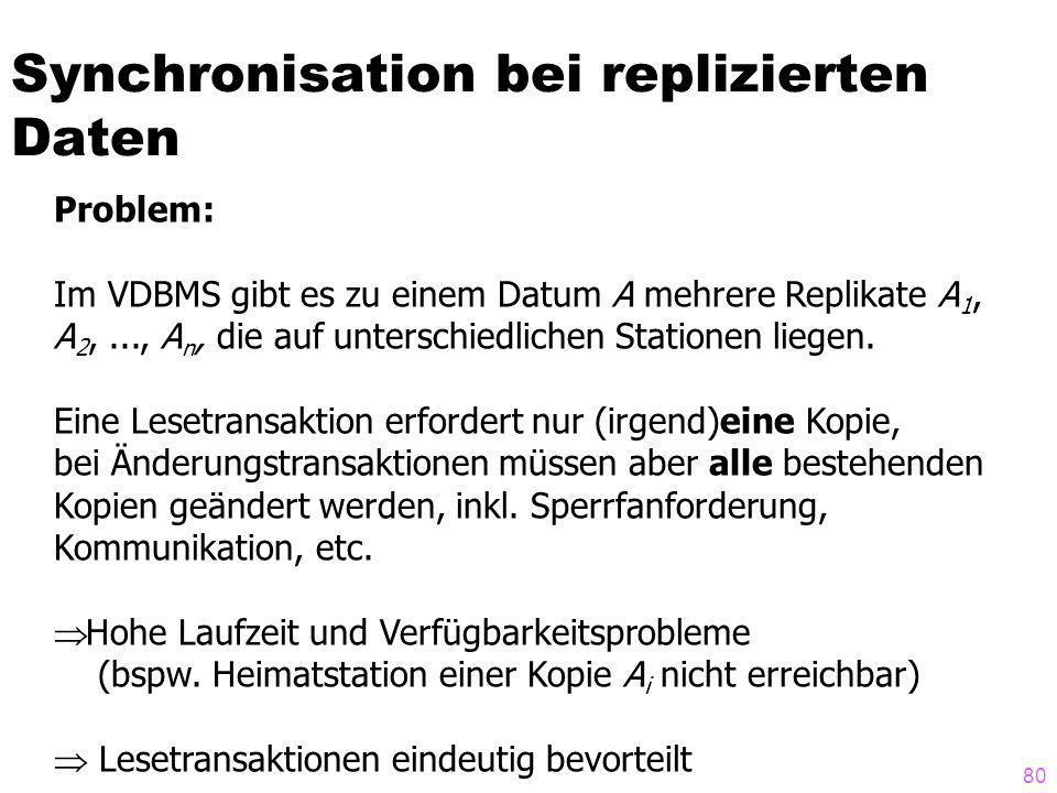 80 Synchronisation bei replizierten Daten Problem: Im VDBMS gibt es zu einem Datum A mehrere Replikate A 1, A 2,..., A n, die auf unterschiedlichen Stationen liegen.