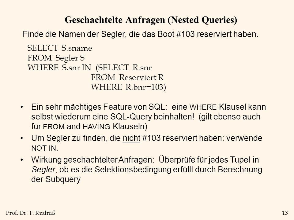 Prof. Dr. T. Kudraß13 Geschachtelte Anfragen (Nested Queries) Finde die Namen der Segler, die das Boot #103 reserviert haben. SELECT S.sname FROM Segl