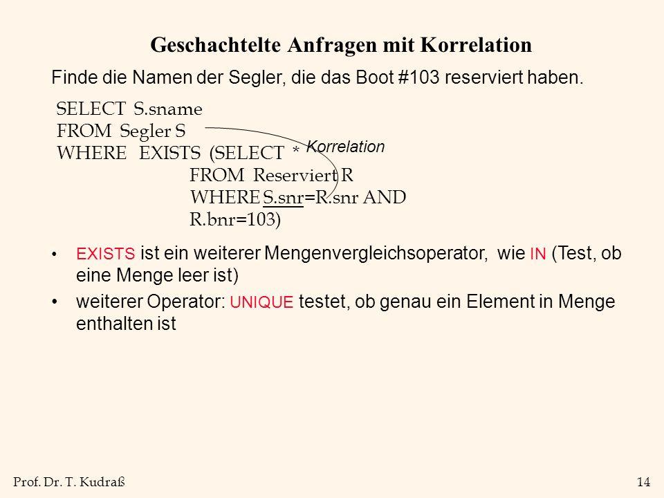 Prof. Dr. T. Kudraß14 Geschachtelte Anfragen mit Korrelation Finde die Namen der Segler, die das Boot #103 reserviert haben. SELECT S.sname FROM Segle