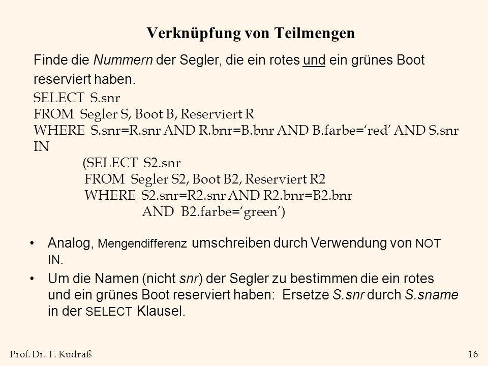 Prof. Dr. T. Kudraß16 Verknüpfung von Teilmengen Finde die Nummern der Segler, die ein rotes und ein grünes Boot reserviert haben. SELECT S.snr FROM S