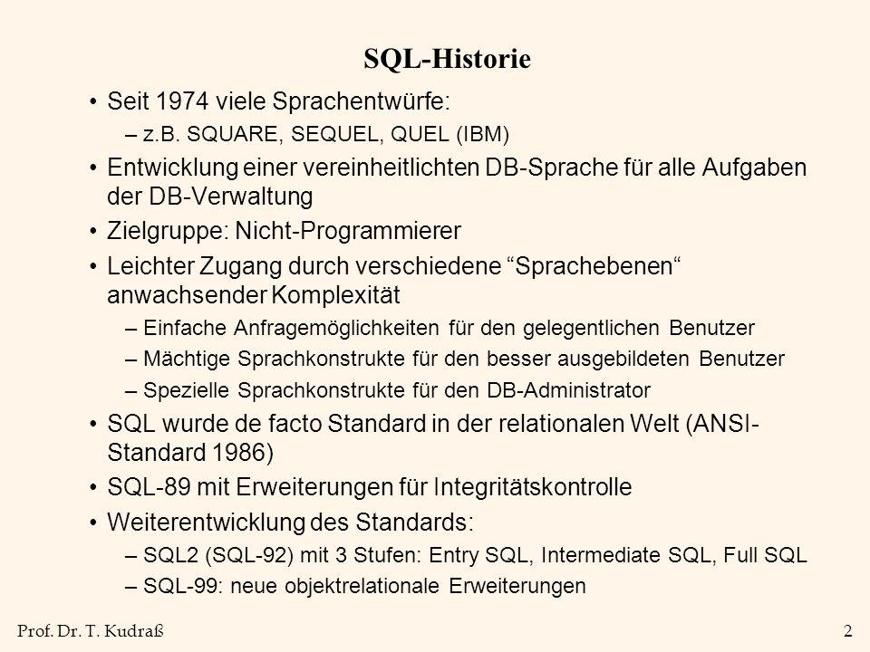 Prof. Dr. T. Kudraß2 SQL-Historie Seit 1974 viele Sprachentwürfe: –z.B. SQUARE, SEQUEL, QUEL (IBM) Entwicklung einer vereinheitlichten DB-Sprache für