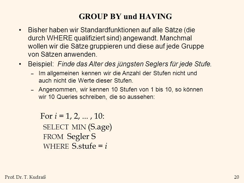 Prof. Dr. T. Kudraß20 GROUP BY und HAVING Bisher haben wir Standardfunktionen auf alle Sätze (die durch WHERE qualifiziert sind) angewandt. Manchmal w