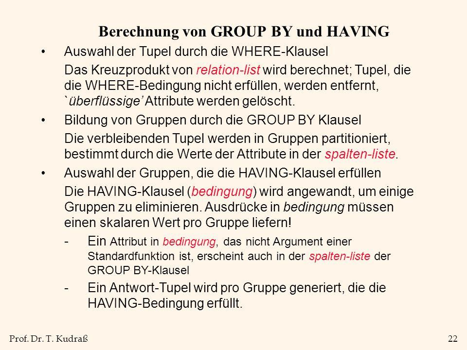 Prof. Dr. T. Kudraß22 Berechnung von GROUP BY und HAVING Auswahl der Tupel durch die WHERE-Klausel Das Kreuzprodukt von relation-list wird berechnet;