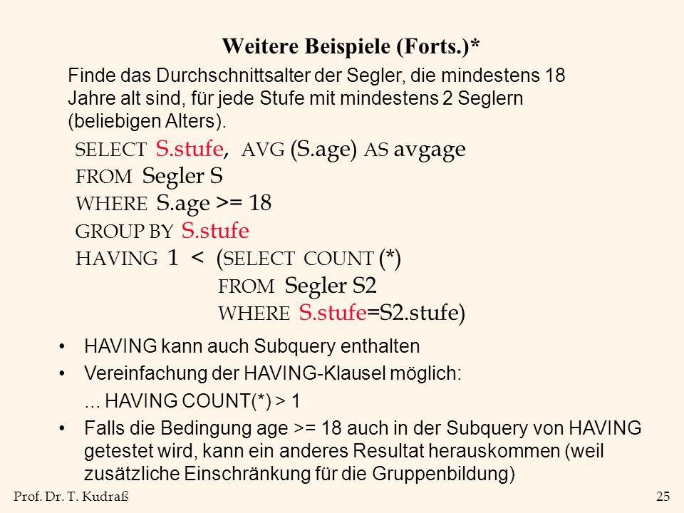 Prof. Dr. T. Kudraß25 Weitere Beispiele (Forts.)* HAVING kann auch Subquery enthalten Vereinfachung der HAVING-Klausel möglich:... HAVING COUNT(*) > 1