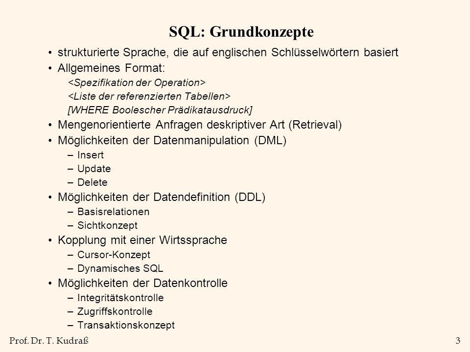 Prof. Dr. T. Kudraß3 SQL: Grundkonzepte strukturierte Sprache, die auf englischen Schlüsselwörtern basiert Allgemeines Format: [WHERE Boolescher Prädi