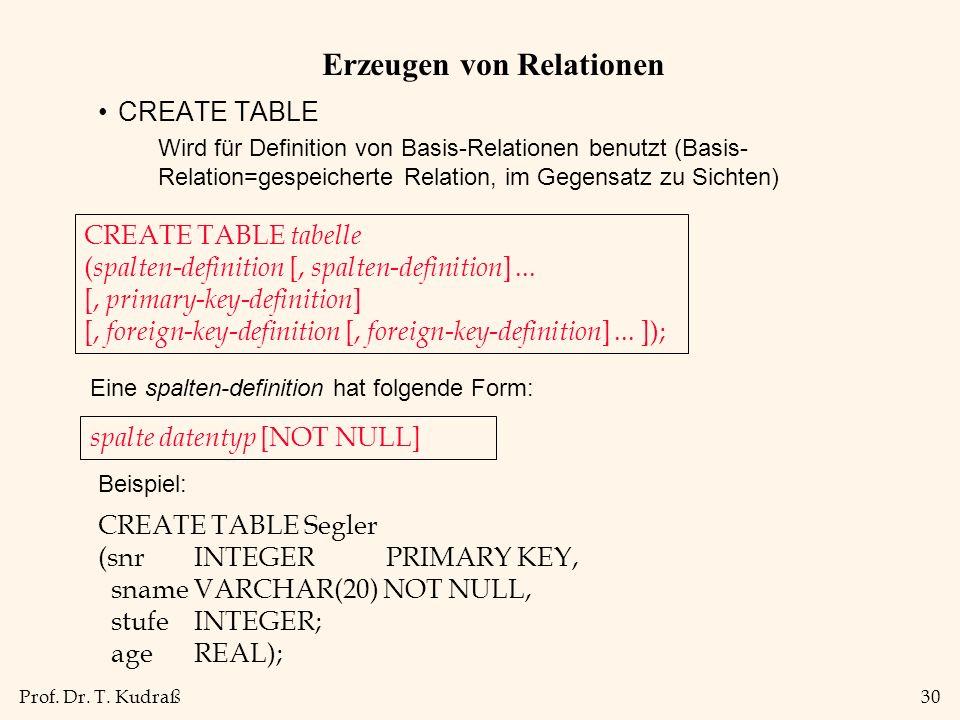 Prof. Dr. T. Kudraß30 Erzeugen von Relationen CREATE TABLE Wird für Definition von Basis-Relationen benutzt (Basis- Relation=gespeicherte Relation, im