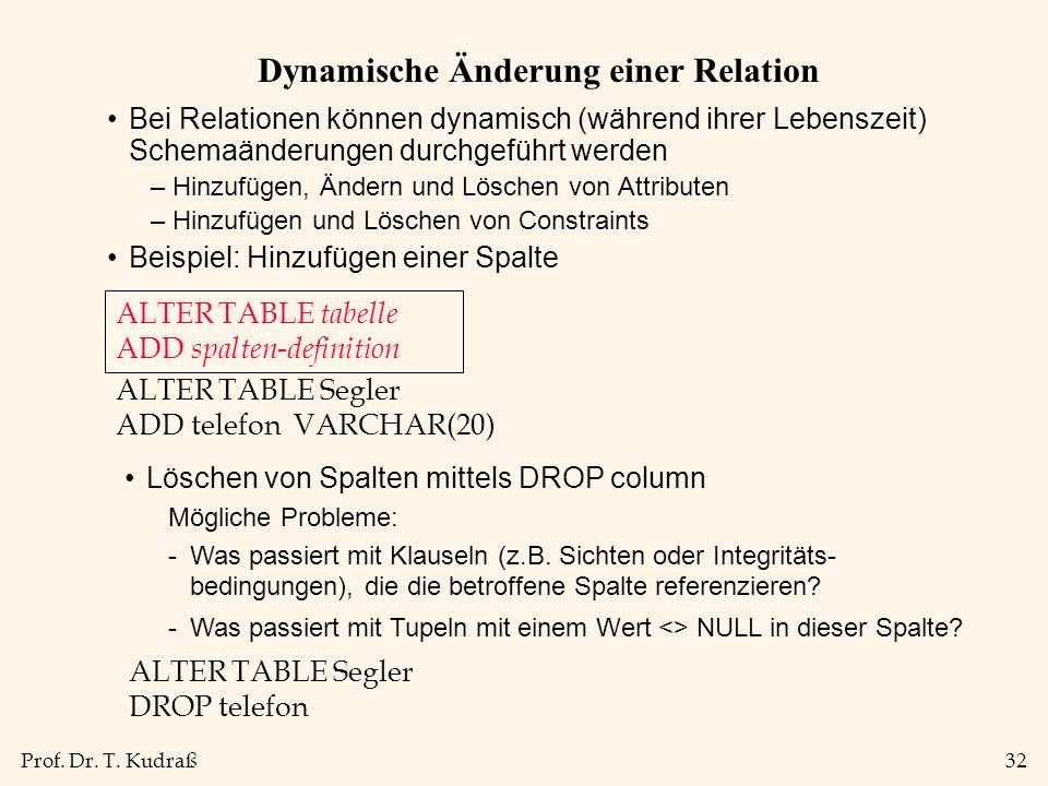 Prof. Dr. T. Kudraß32 Dynamische Änderung einer Relation Bei Relationen können dynamisch (während ihrer Lebenszeit) Schemaänderungen durchgeführt werd