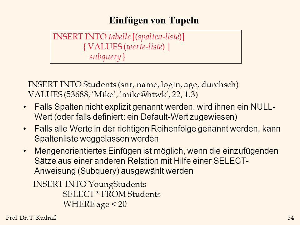 Prof. Dr. T. Kudraß34 Einfügen von Tupeln INSERT INTO tabelle [( spalten-liste )] { VALUES ( werte-liste ) | subquery } INSERT INTO Students (snr, nam