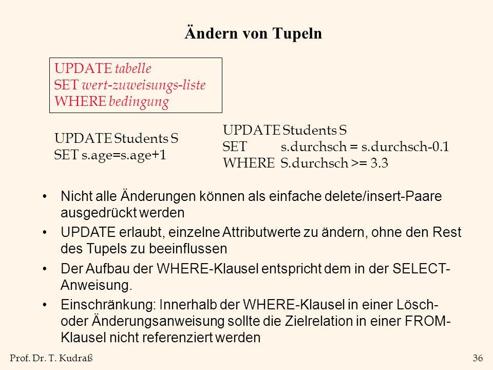 Prof. Dr. T. Kudraß36 Ändern von Tupeln UPDATE tabelle SET wert-zuweisungs-liste WHERE bedingung UPDATE Students S SET s.age=s.age+1 Nicht alle Änderu