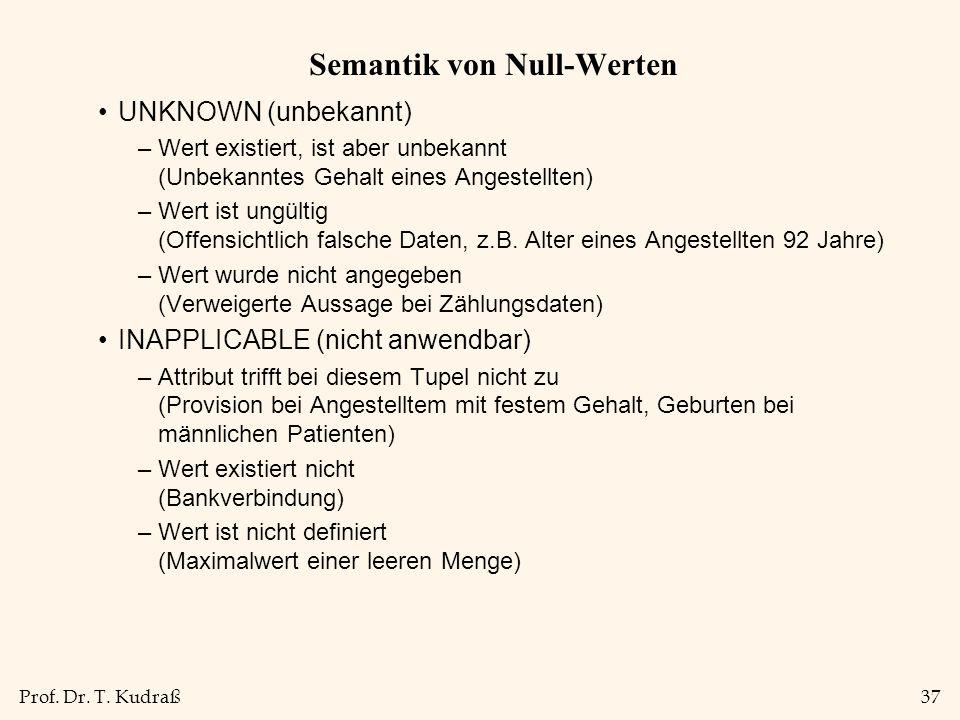 Prof. Dr. T. Kudraß37 Semantik von Null-Werten UNKNOWN (unbekannt) –Wert existiert, ist aber unbekannt (Unbekanntes Gehalt eines Angestellten) –Wert i