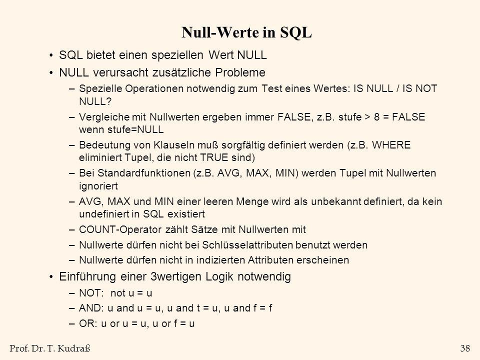 Prof. Dr. T. Kudraß38 Null-Werte in SQL SQL bietet einen speziellen Wert NULL NULL verursacht zusätzliche Probleme –Spezielle Operationen notwendig zu