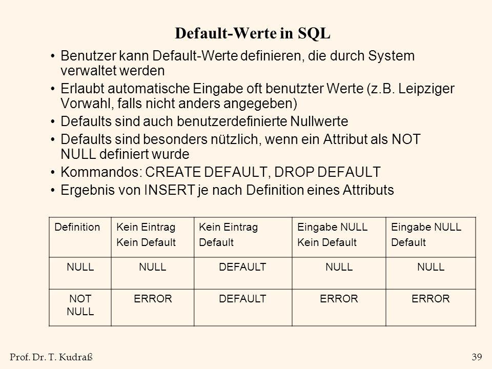Prof. Dr. T. Kudraß39 Default-Werte in SQL Benutzer kann Default-Werte definieren, die durch System verwaltet werden Erlaubt automatische Eingabe oft