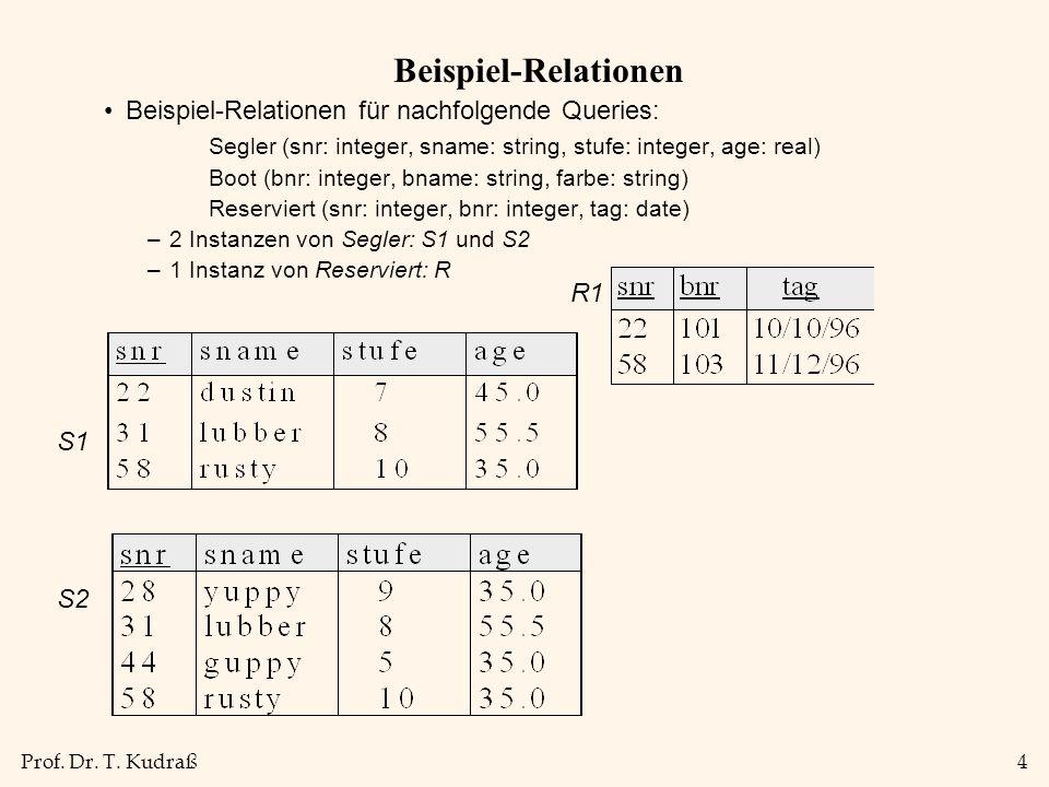 Prof. Dr. T. Kudraß4 Beispiel-Relationen Beispiel-Relationen für nachfolgende Queries: Segler (snr: integer, sname: string, stufe: integer, age: real)