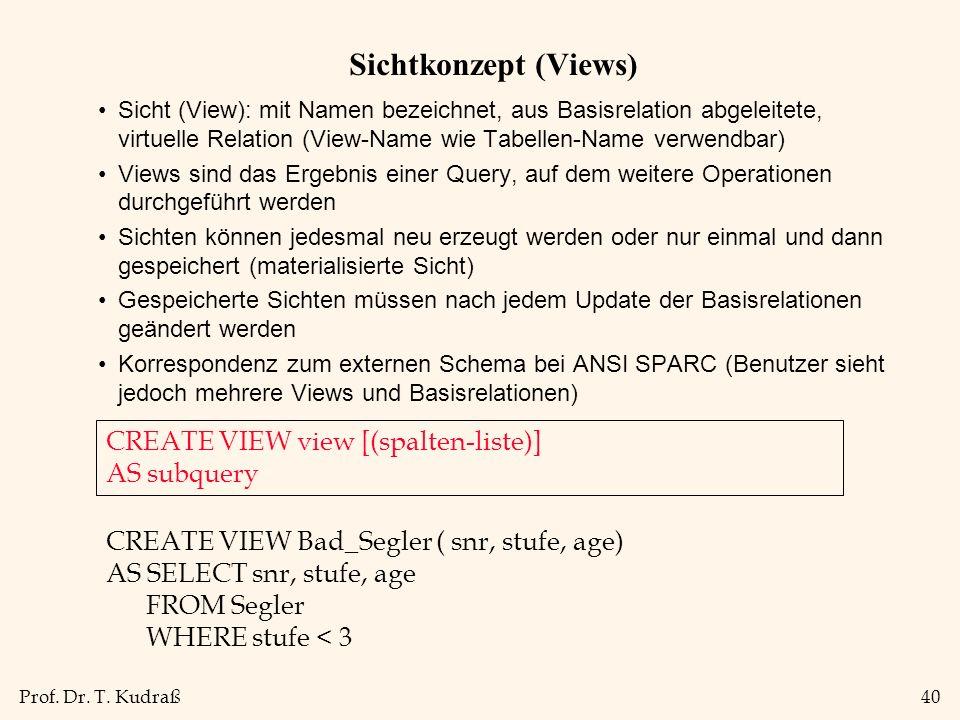 Prof. Dr. T. Kudraß40 Sichtkonzept (Views) Sicht (View): mit Namen bezeichnet, aus Basisrelation abgeleitete, virtuelle Relation (View-Name wie Tabell
