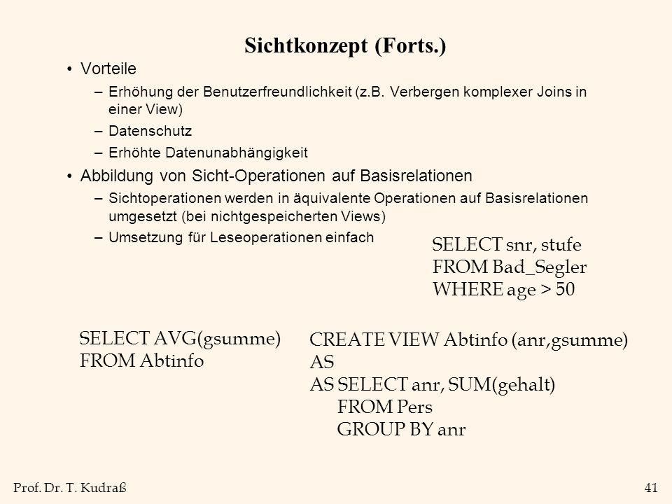 Prof. Dr. T. Kudraß41 Sichtkonzept (Forts.) Vorteile –Erhöhung der Benutzerfreundlichkeit (z.B. Verbergen komplexer Joins in einer View) –Datenschutz