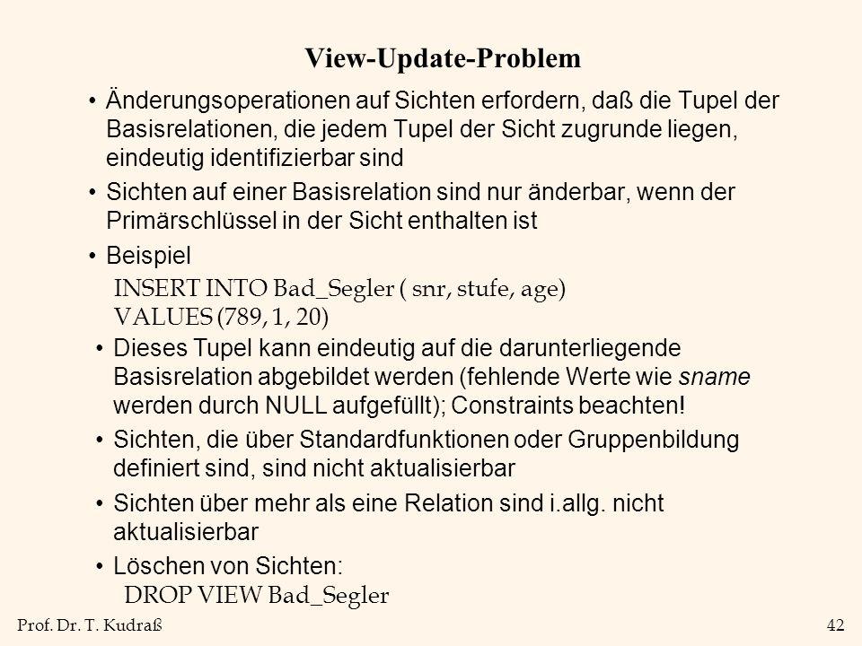 Prof. Dr. T. Kudraß42 View-Update-Problem Änderungsoperationen auf Sichten erfordern, daß die Tupel der Basisrelationen, die jedem Tupel der Sicht zug