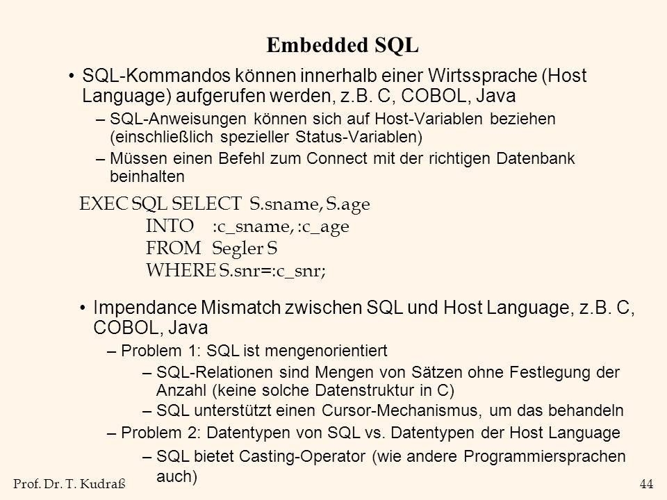 Prof. Dr. T. Kudraß44 Embedded SQL SQL-Kommandos können innerhalb einer Wirtssprache (Host Language) aufgerufen werden, z.B. C, COBOL, Java –SQL-Anwei