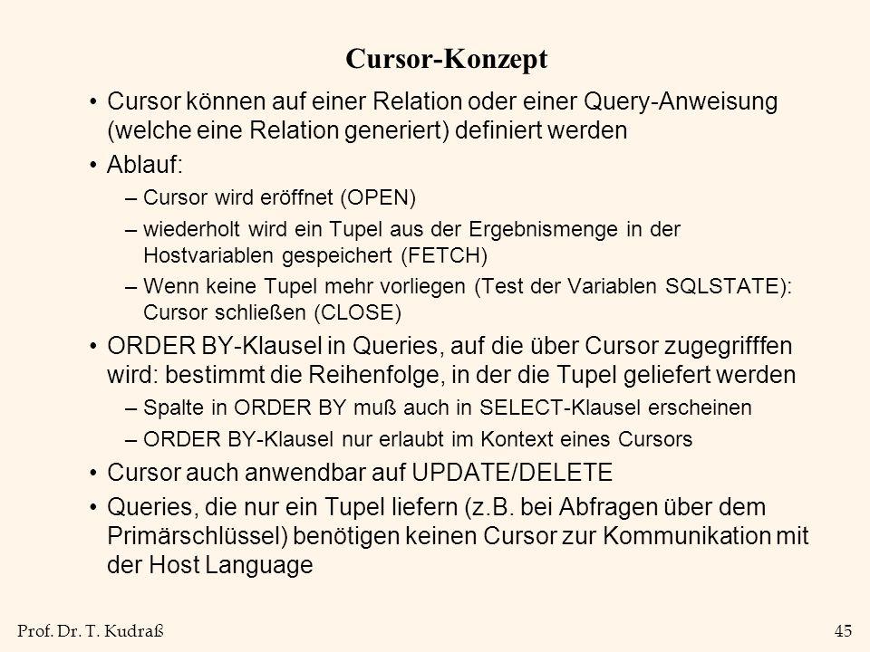 Prof. Dr. T. Kudraß45 Cursor-Konzept Cursor können auf einer Relation oder einer Query-Anweisung (welche eine Relation generiert) definiert werden Abl