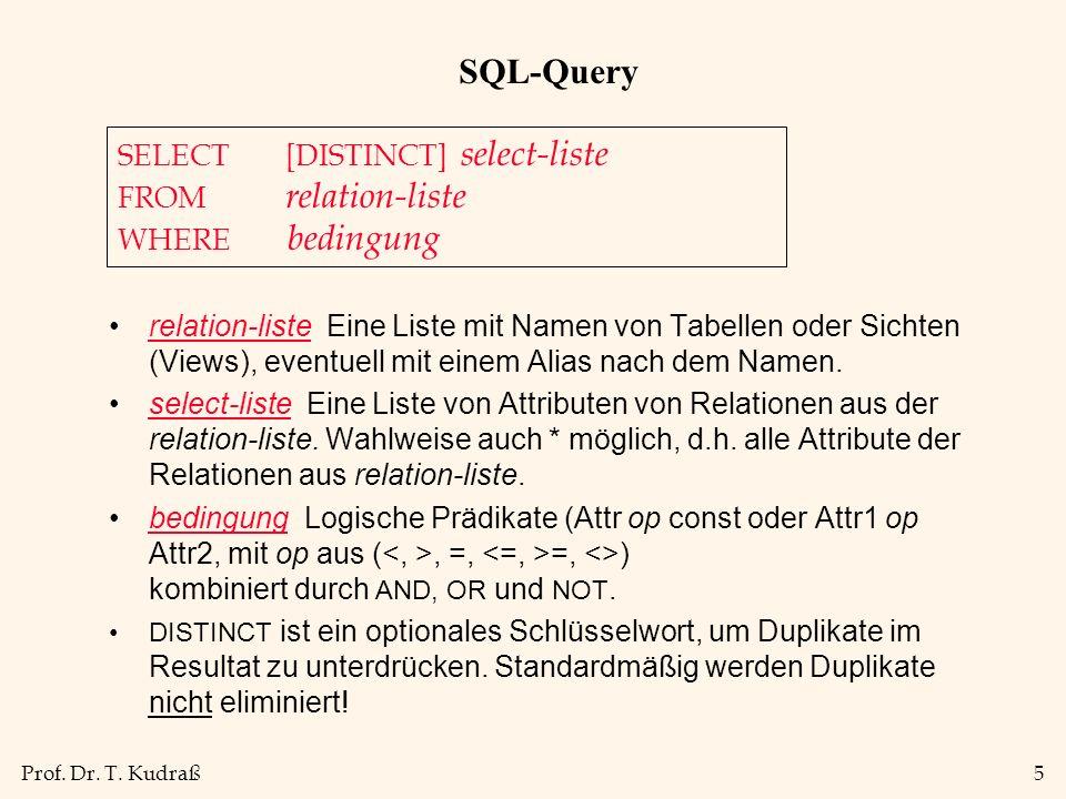 Prof. Dr. T. Kudraß5 SQL-Query relation-liste Eine Liste mit Namen von Tabellen oder Sichten (Views), eventuell mit einem Alias nach dem Namen. select