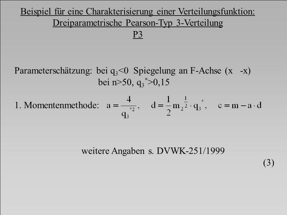 Beispiel für eine Charakterisierung einer Verteilungsfunktion: Dreiparametrische Pearson-Typ 3-Verteilung P3 Parameterschätzung: bei q 3 <0 Spiegelung