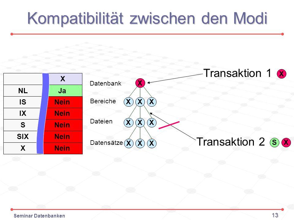 Seminar Datenbanken 13 Datenbank Bereiche Dateien Datensätze Kompatibilität zwischen den Modi X Transaktion 1 X XXX X XX XXX S Transaktion 2 X NL IS I