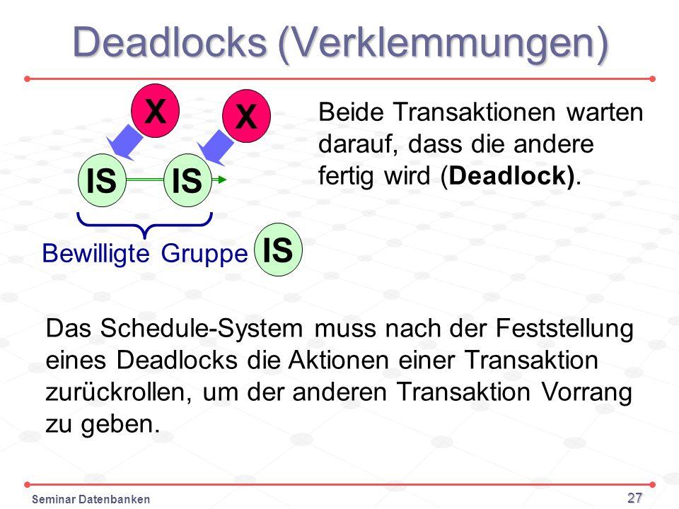 Seminar Datenbanken 27 Deadlocks (Verklemmungen) IS Bewilligte Gruppe X X Beide Transaktionen warten darauf, dass die andere fertig wird (Deadlock). D
