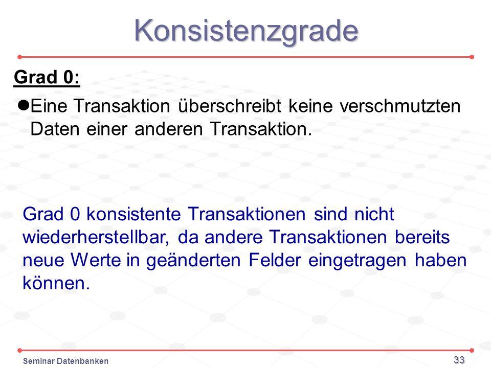 Seminar Datenbanken 33 Konsistenzgrade Grad 0: Eine Transaktion überschreibt keine verschmutzten Daten einer anderen Transaktion. Grad 0 konsistente T