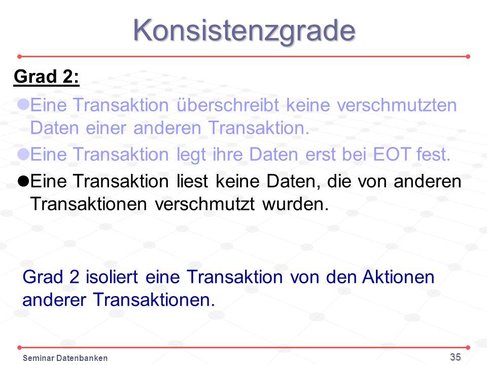 Seminar Datenbanken 35 Konsistenzgrade Grad 2: Eine Transaktion überschreibt keine verschmutzten Daten einer anderen Transaktion. Grad 2 isoliert eine