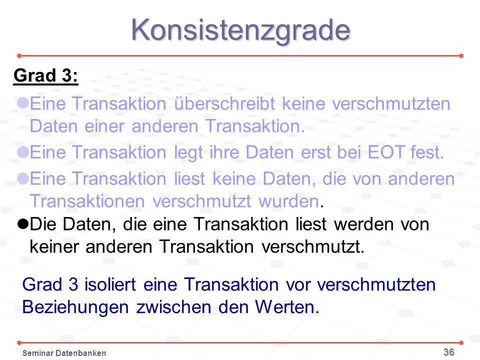 Seminar Datenbanken 36 Konsistenzgrade Grad 3: Eine Transaktion überschreibt keine verschmutzten Daten einer anderen Transaktion. Grad 3 isoliert eine