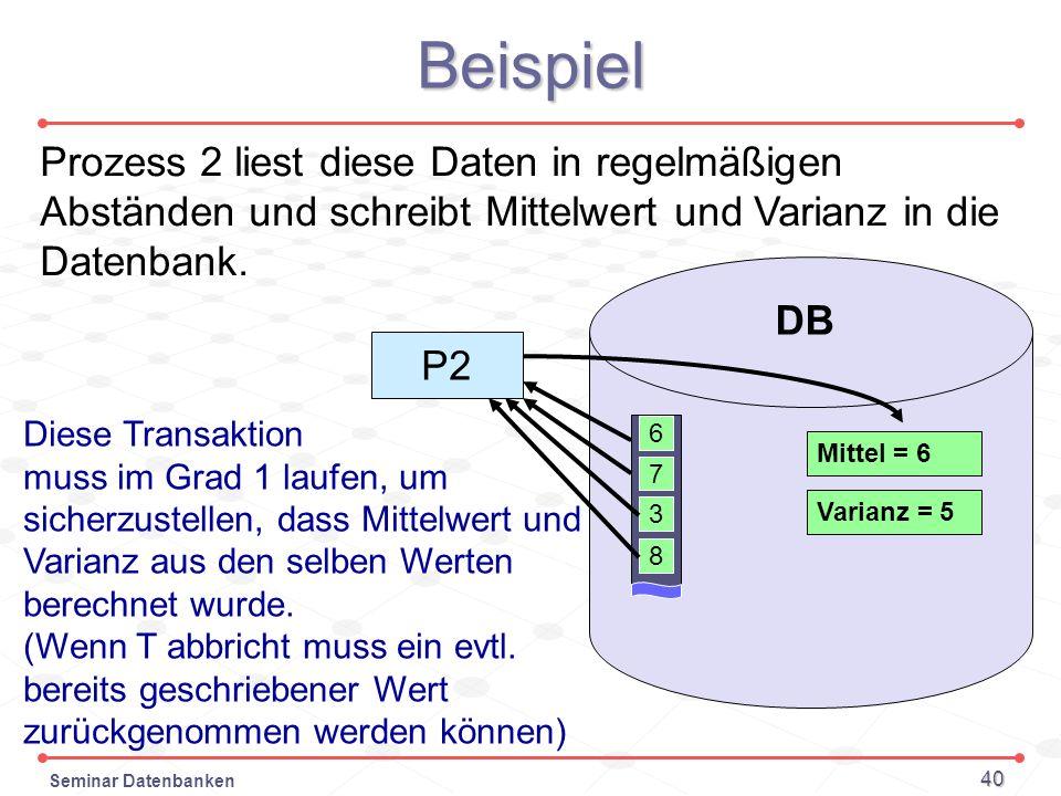 Seminar Datenbanken 40 Beispiel Prozess 2 liest diese Daten in regelmäßigen Abständen und schreibt Mittelwert und Varianz in die Datenbank. 6 7 DB 3 8