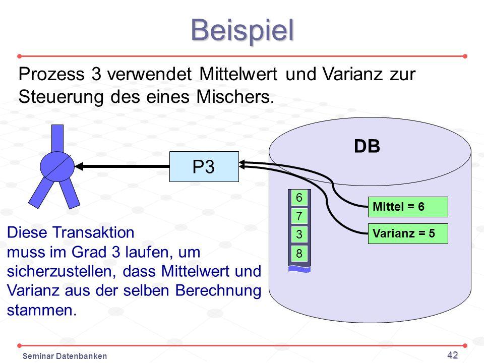 Seminar Datenbanken 42 Beispiel Prozess 3 verwendet Mittelwert und Varianz zur Steuerung des eines Mischers. 6 7 DB 3 8 P3 Mittel = 6 Varianz = 5 Dies
