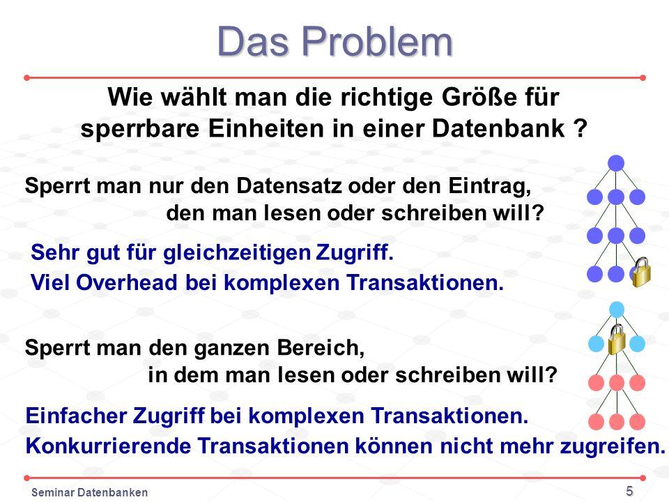 Seminar Datenbanken 5 Das Problem Wie wählt man die richtige Größe für sperrbare Einheiten in einer Datenbank ? Sperrt man nur den Datensatz oder den