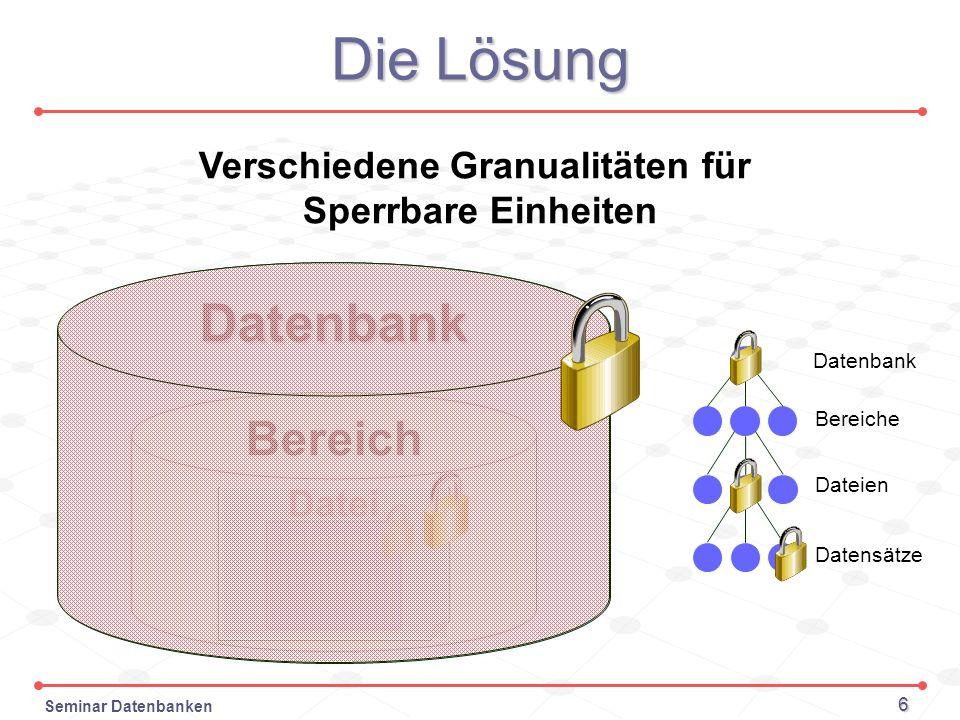 Seminar Datenbanken 6 Die Lösung Verschiedene Granualitäten für Sperrbare Einheiten Datenbank Bereich Datei Datensatz Eintrag Datenbank Bereiche Datei