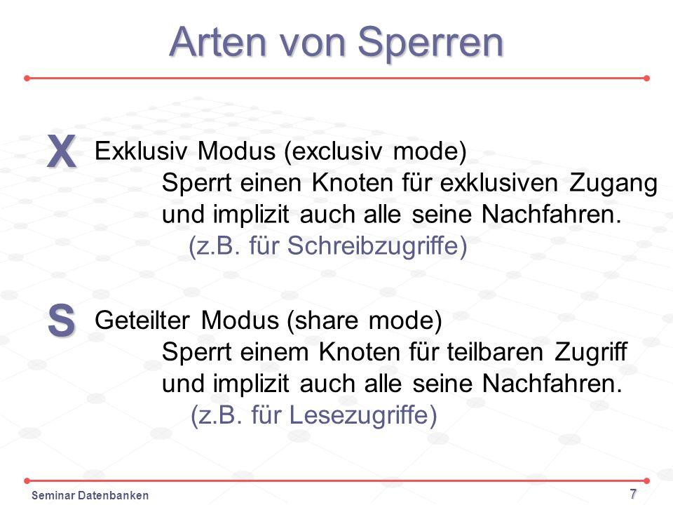 Seminar Datenbanken 7 Arten von Sperren X Exklusiv Modus (exclusiv mode) Sperrt einen Knoten für exklusiven Zugang und implizit auchalle seine Nachfah