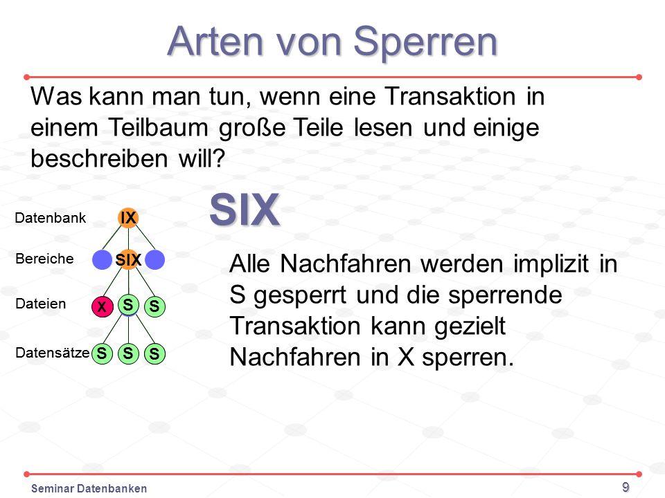 Seminar Datenbanken 9 Arten von Sperren X S Datenbank Bereiche Dateien Datensätze SIX Alle Nachfahren werden implizit in S gesperrt und die sperrende