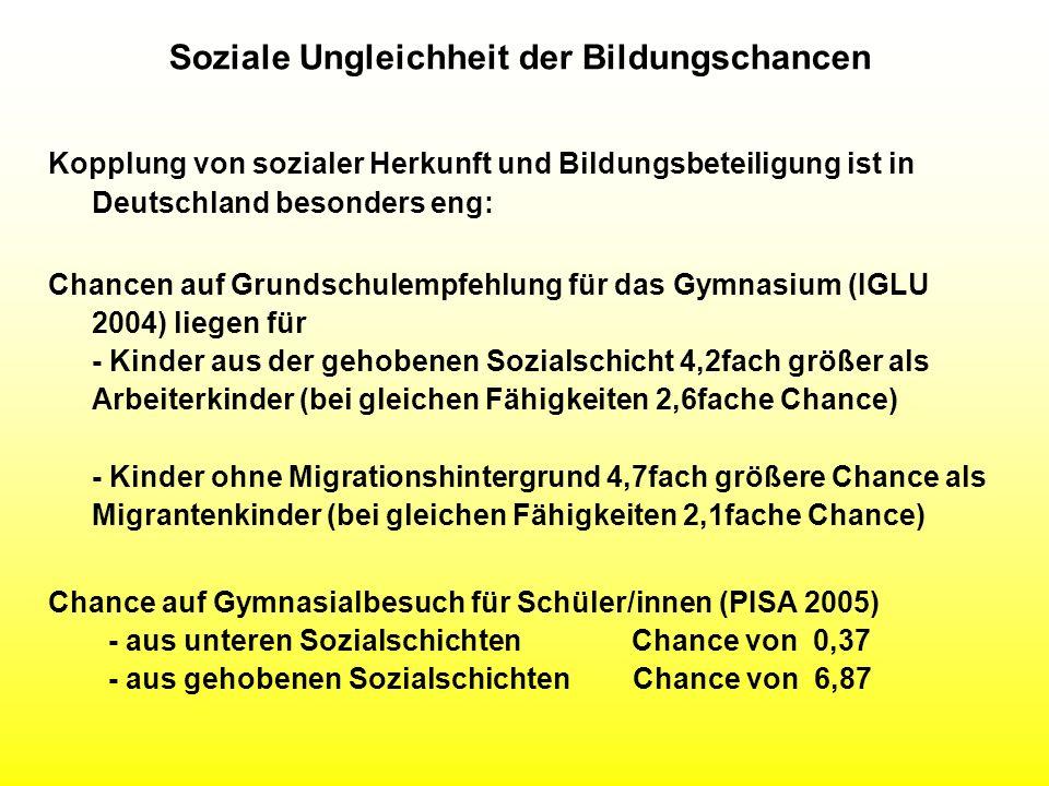Soziale Ungleichheit der Bildungschancen Kopplung von sozialer Herkunft und Bildungsbeteiligung ist in Deutschland besonders eng: Chancen auf Grundsch