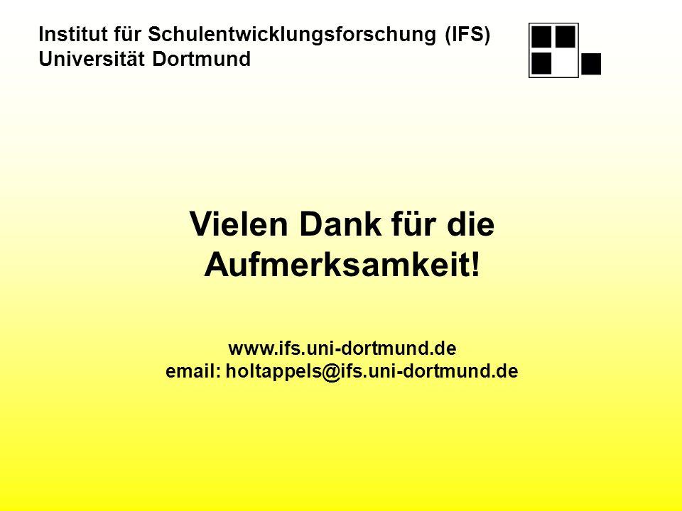 Vielen Dank für die Aufmerksamkeit! www.ifs.uni-dortmund.de email: holtappels@ifs.uni-dortmund.de Institut für Schulentwicklungsforschung (IFS) Univer