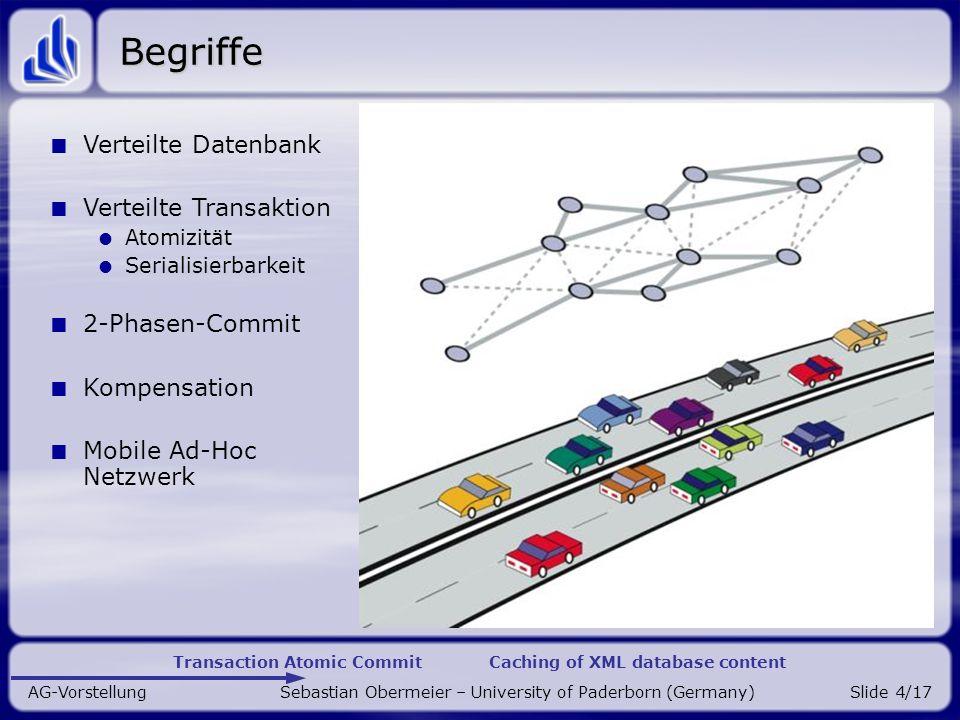 Transaction Atomic Commit Caching of XML database content AG-Vorstellung Sebastian Obermeier – University of Paderborn (Germany)Slide 15/17 Research: Spinnennetz-Caching Verteilung von Daten.