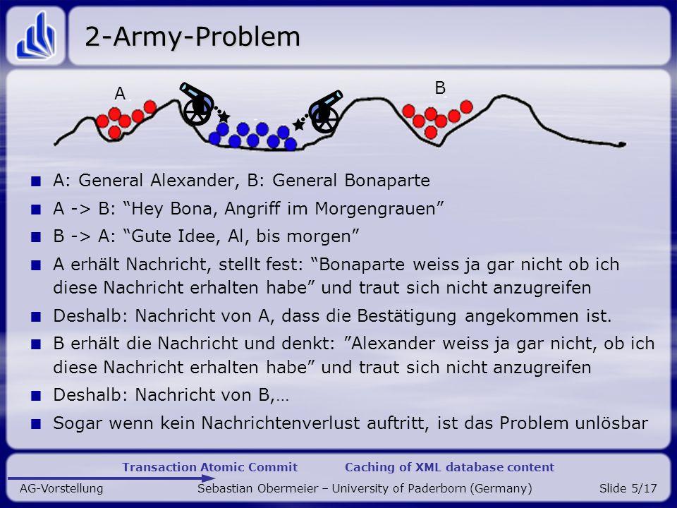 Transaction Atomic Commit Caching of XML database content AG-Vorstellung Sebastian Obermeier – University of Paderborn (Germany)Slide 16/17 Andere Ideen ??.