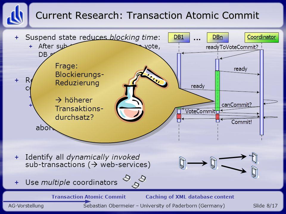 Transaction Atomic Commit Caching of XML database content AG-Vorstellung Sebastian Obermeier – University of Paderborn (Germany)Slide 9/17 Coordinator failure Ist der Koordinator ausgefallen.