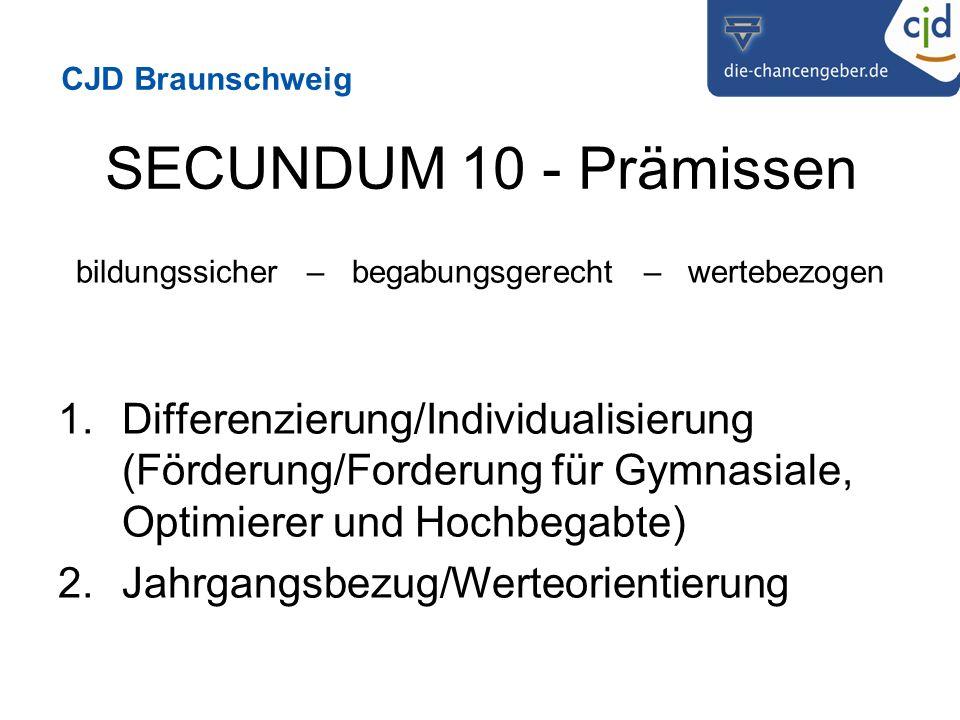 CJD Braunschweig SECUNDUM 10 - Prämissen bildungssicher – begabungsgerecht – wertebezogen 1.Differenzierung/Individualisierung (Förderung/Forderung für Gymnasiale, Optimierer und Hochbegabte) 2.Jahrgangsbezug/Werteorientierung